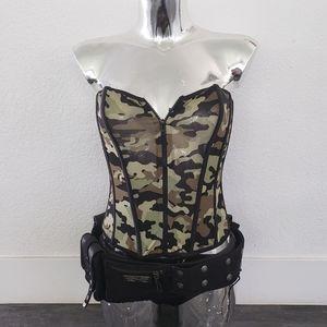 Black Camo Front Zip Military Adult Costume